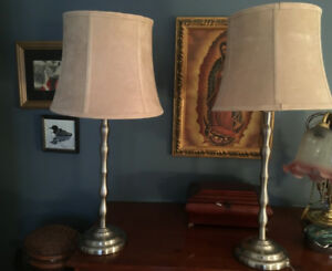 Bedside lamps metal base and suede like shades. Beige. perfect!
