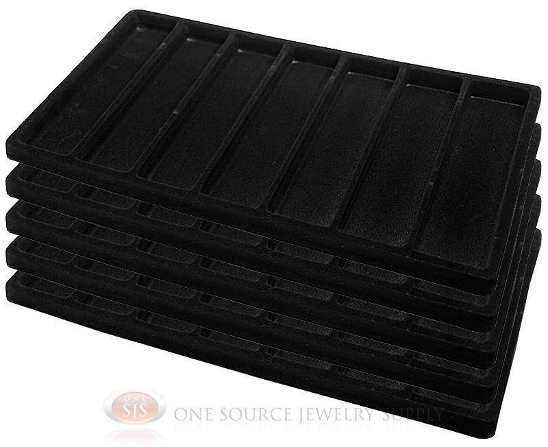 5 Black Insert Tray Liners W/ 7 Slot Each Drawer Organizer Jewelry Displays