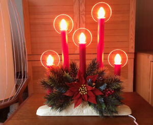 Vintage Christmas Electric Candelabra Candolier 5 Candles Halos