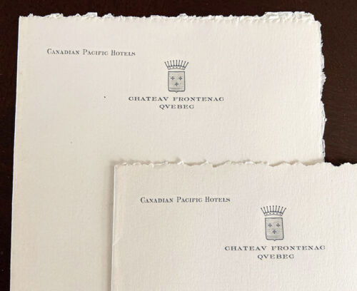 Vintage CHATEAU FRONTENAC, QUEBEC Canadian Pacific Hotels letter head note paper