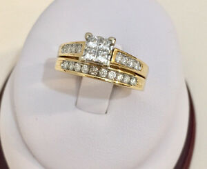 14k gold diamond engagement ring***with matching wedding band