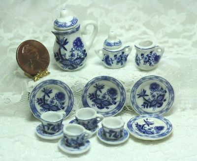 "Dollhouse Miniature *SALE* Tea Set in ""Blue Onion"" Blue and White Pattern"
