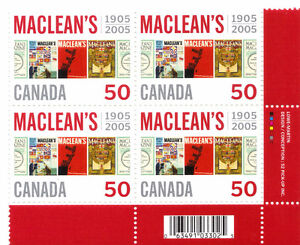 Canada Stamps - MacLean's 1905-2005 50c (lower Right Corner 4) West Island Greater Montréal image 1