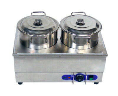 2 Pot Food Warmer 110v Electric Steamer Countertop Soup Heater With Water Faucet