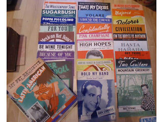Sheet music,job lot of nearly 100+, easy,latin, orchestra,vocal.mainly 1940'/19500,piano,guitar £20