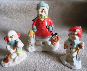 A Group Of 3 Porcelain Christmas Figures Snowmen
