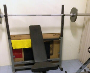 Body-Solid Squat/Pressing Bench With Olympic Plates & Bar