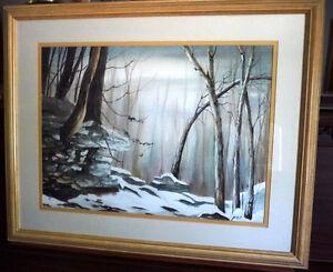 Original Muskoka Landscape, Large Winter Watercolor by Jon Hart
