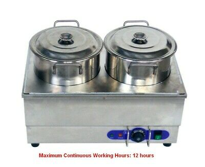2pan Food Soup Warmer Stove Bain Marie Canteen Buffet Steam Heater 110v Ss