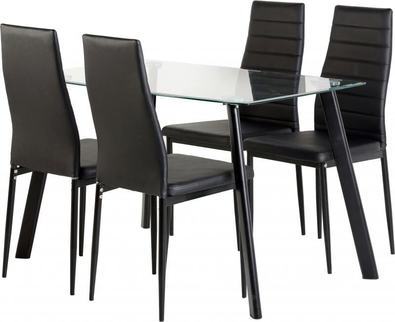 BRAND NEW glass dining table set with 4 or 6 leather cushioned chairsin Kingston, LondonGumtree - This Dining Set will have your dining room needs covered for both style and practicality. The tempered glass table top is 8mm thick and sits on metal legs making this a sturdy dining table while the seats feature faux leather upholstery and are foam...