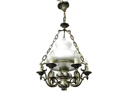 Stunning Opal glass antique chandelier lamp brass French or Austrian art nouveau living room light 1900/'s porcelain
