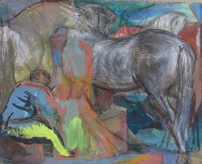 Josef Presser (American, 1907-1967) Mixed Media Painting Readying the Horses