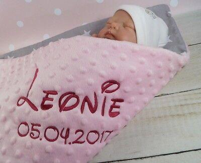 ★Zweilagige Decke  ★ Babydecke mit Namen  ★ Baumwolle ★ 75 x 100 cm ★ MINKY