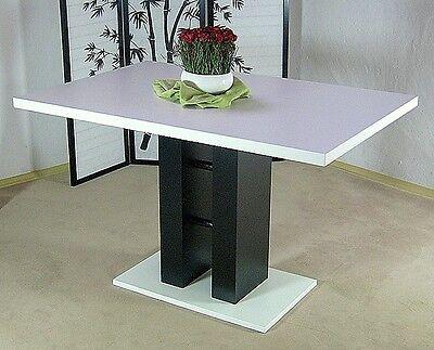 Moderner Säulentisch Weiß Schwarz Esstisch Design Esszimmertisch Küchentisch