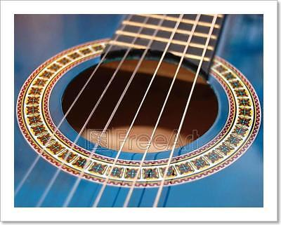 Blue Music Guitar For Playing Party Art Print Home Decor Wall Art Poster - F - Guitar Decorations