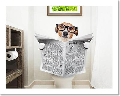 Dog On Toilet Seat Reading Art Print/Canvas Home Decor Wall Art Poster - B