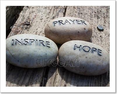 Prayer, Inspire, Hope, Rocks Art Print Home Decor Wall Art Poster - C - Inspirational Prayer