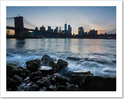 Manhattan Skyline With Brooklyn Bridge Art Print Home Decor Wall Art Poster - C