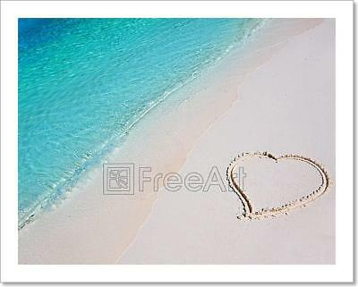 Heart On Beach Sand In Tropical Art Print Home Decor Wall Art Poster - G