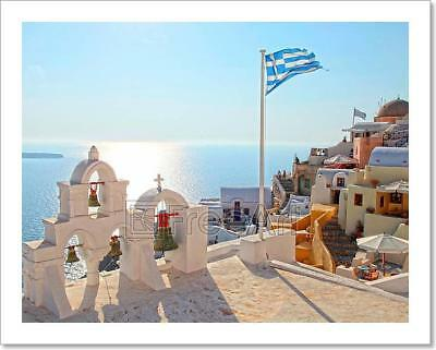 Greek Flag And Bell Tower In Oia Village  Santorini  Greece   5