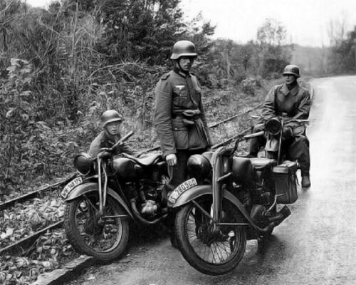 German Soldiers with motorcycles 8x10 World War 2 WWII Photo 330
