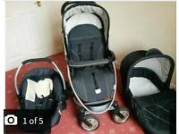 Hauck Pushchair with car seat, cot, rain cover, umbrella and, bag and raincover.