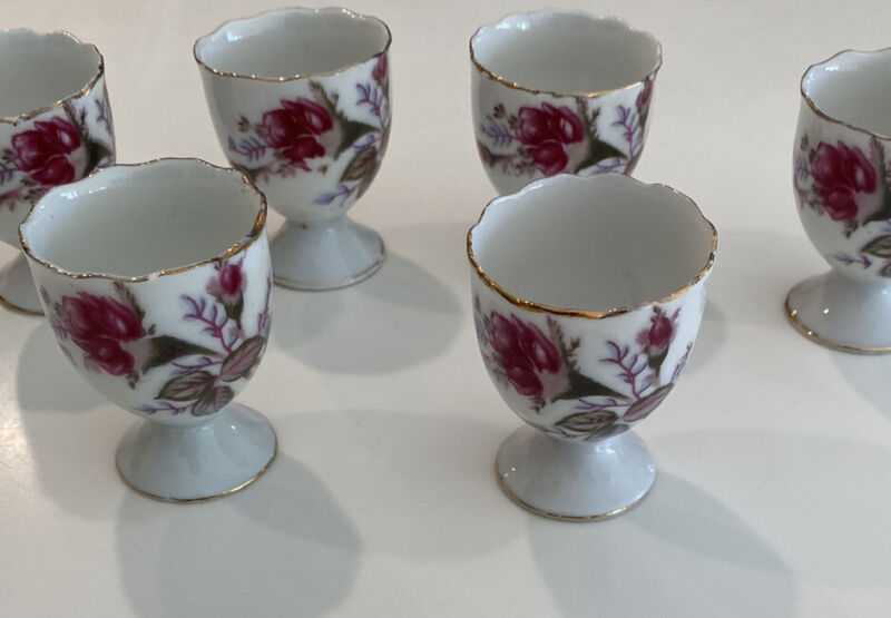 VINTAGE SIX PORCELAIN ROSE ENGLISH EGG CUPS MADE IN JAPAN RED STAMP
