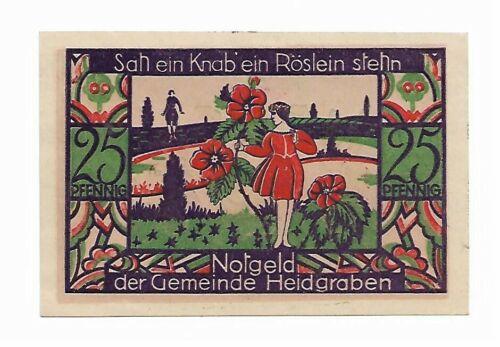 **1921 HEIDGRABEN Germany- A BOY & ROSE ~ UNC German Notgeld Banknote 25 pf