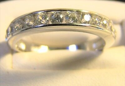 Very Pretty Sterling Silver Multi Stone CZ Sparkly Band Cocktail Ring Size 7