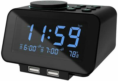 USCCE Digital Alarm Clock Radio - 0-100% Dimmer, Dual Alarm with Weekday/Weekend