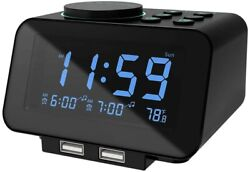 USCCE Small LED Digital Alarm Clock with Snooze, Easy to Set, Full Range Dimmer,
