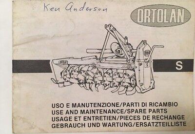 Ortolan Rototiller Use and Maintenance / Spare Parts Manual