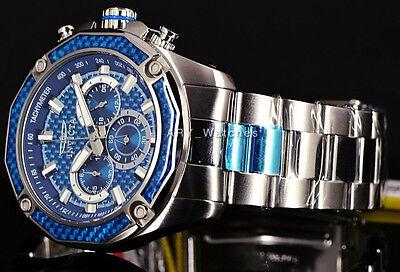 New! Invicta Men's Aviator Ocean Blue Carbonfiber Chronograph SS Bracelet Watch