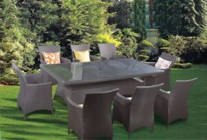 9pc Wicker Rattan TABLE sets in 3 COLOURS