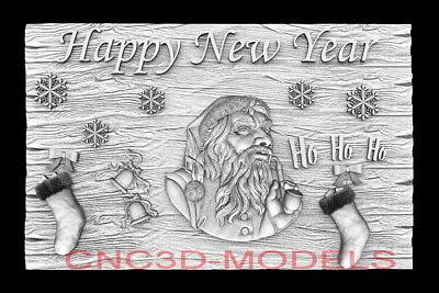 3d Model Stl For Cnc Router Artcam Aspire Happy New Year Santa Claus D754