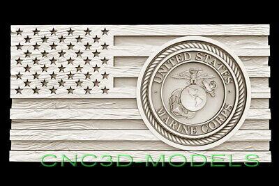 3d Stl Model For Cnc Router Artcam Flag Usa America Marine Corps Eagle D665