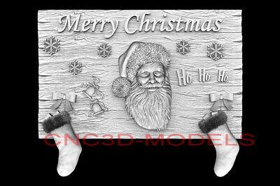 3d Model Stl For Cnc Router Artcam Aspire Merry Christmas Santa Claus D731