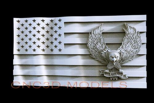 3D STL Model for CNC Router Carving Artcam Aspire USA Flag America Eagle D505