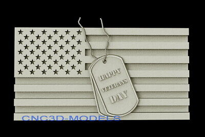 3d Model Stl For Cnc Router Artcam Aspire Usa Flag Veterans Day Pano D316