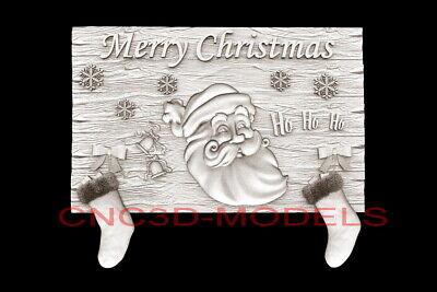 3d Model Stl For Cnc Router Artcam Aspire Merry Christmas Santa Claus D728
