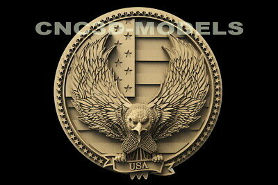 3d Stl Model For Cnc Router Artcam Aspire American Flag Eagle Animal D139