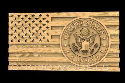 3d Stl Models For Cnc Router Carving Artcam Aspire Flag Usa Eagle Army D652