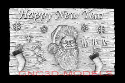 3d Model Stl For Cnc Router Artcam Aspire Happy New Year Santa Claus D763