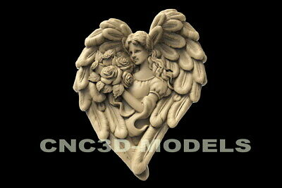 3d Stl Model For Cnc Router Carving Artcam Aspire Flowers Girl Wings Angel D150