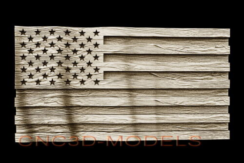 3D STL Model for CNC Router Carving Artcam Aspire USA Flag America Old Look D511