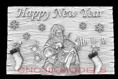 3d Model Stl For Cnc Router Artcam Aspire Happy New Year Santa Claus D765