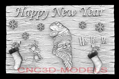 3d Model Stl For Cnc Router Artcam Aspire Happy New Year Santa Claus D764