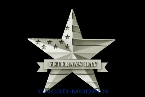 3D Model STL for CNC Router Artcam Aspire USA Flag Veterans Day Pano Star D313