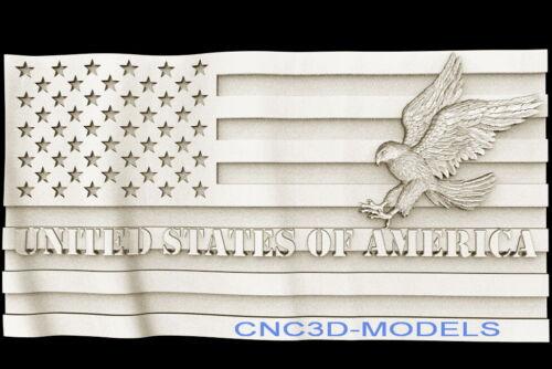 3D STL Models for CNC Router Carving Artcam Aspire Flag USA Eagle Hawk D455