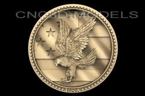 3D STL Model for CNC Router Artcam Aspire USA Flag America Eagle Falcon D240
